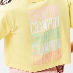 CHAMPION | Pastel Yellow Embroidered Cropped Top